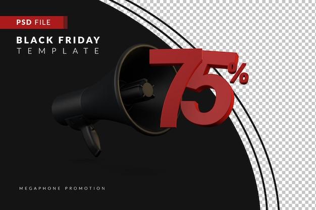 Скидка 75% на продвижение черного мегафона на концепцию распродажи в 3d в стиле черной пятницы
