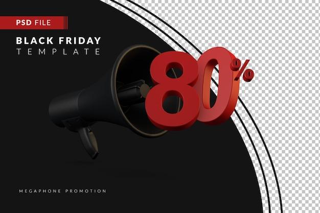 Скидка 80% на продвижение черного мегафона на концепцию распродажи в 3d в стиле черной пятницы