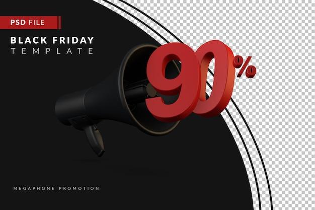 Скидка 90% на продвижение черного мегафона на концепцию распродажи в 3d в стиле черной пятницы