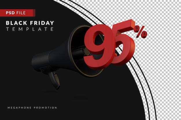 Скидка 95% на продвижение черного мегафона на концепцию распродажи в 3d в стиле черной пятницы