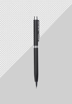 Black metal pen on grey background mockup template for your design.