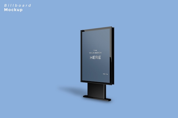 Black metallic billboard mockup isolated