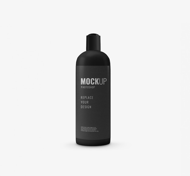 Black minimal bottle mockup
