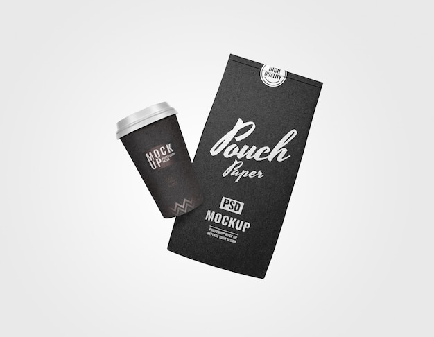 Black minimal sachet and cup bakery set mockup