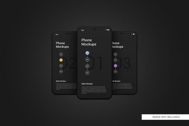 Black mobile phone screen mockup