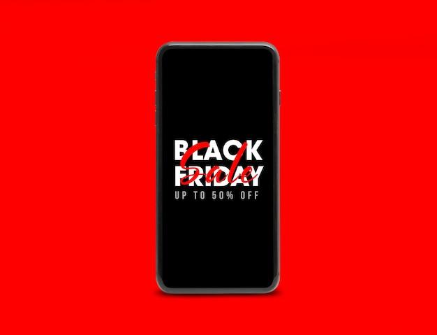 검은 금요일 캠페인 모형이있는 검은 색 모바일 스마트 폰