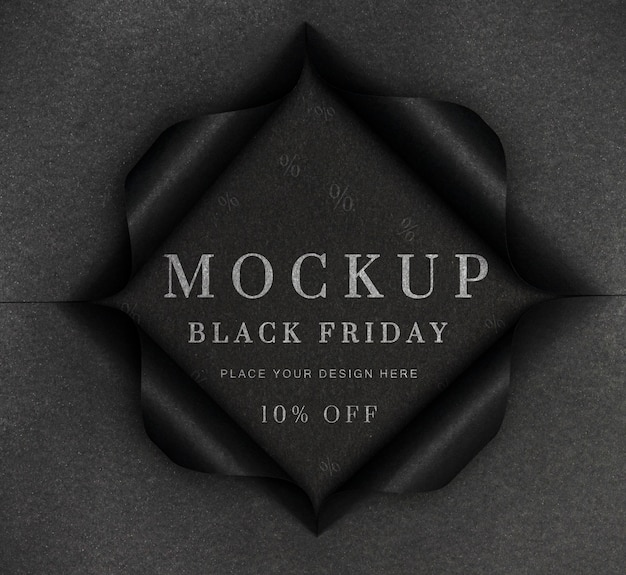 Black mock-up and torn paper black friday