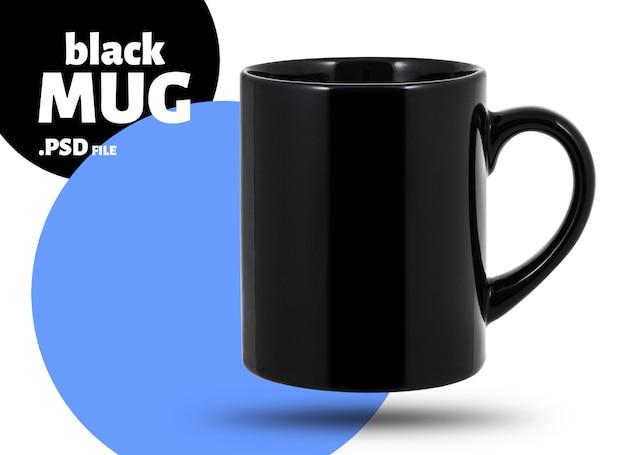 Black mug, empty blank for coffee or tea