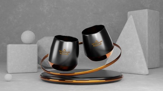 Черная кружка макет, 3d-рендеринга.