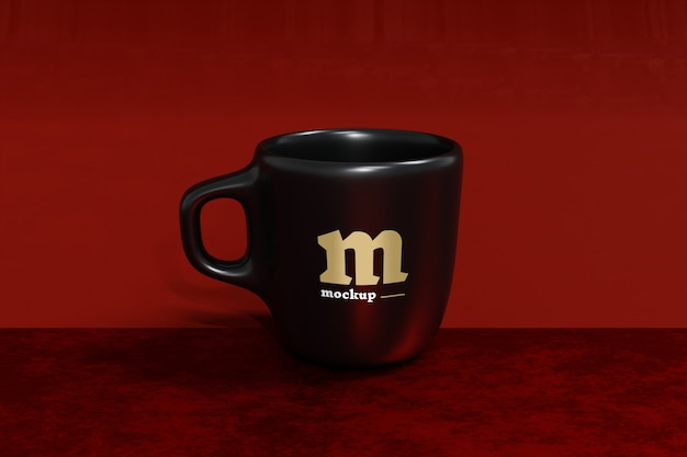 Black mug mockup isolated