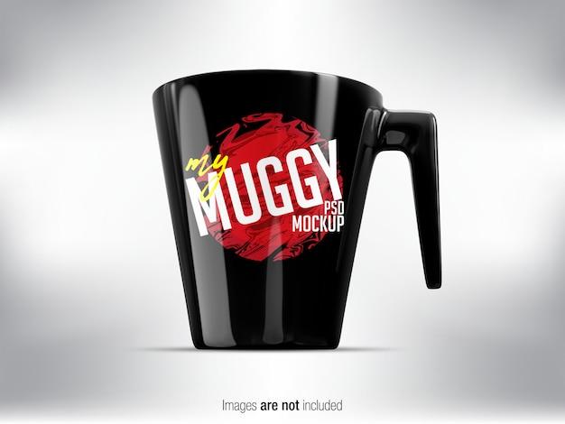 Black mug psd mock-up front view