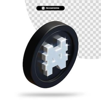 검은 나이라 동전 3d 렌더링 절연