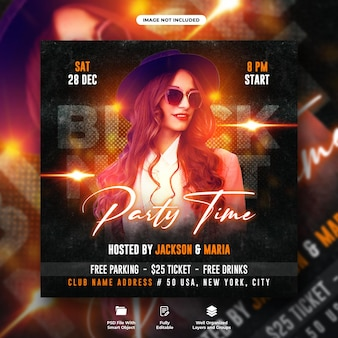 Black night dj party flyer social media post and web banner template