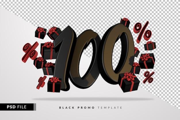 Черный номер 100 черная пятница баннер 3d с темными подарочными коробками
