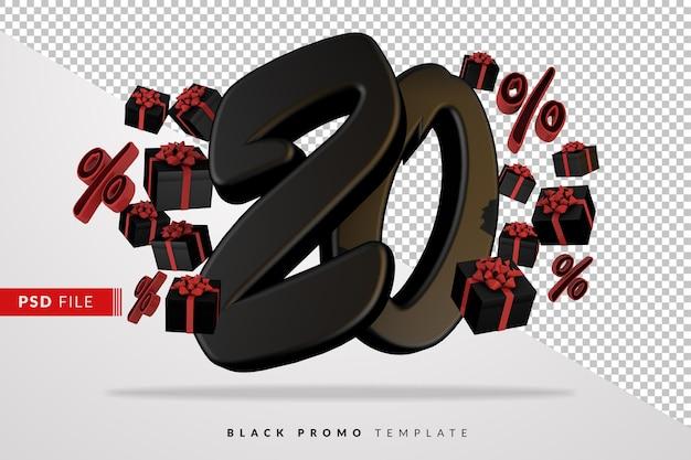 Черный номер 20 черная пятница баннер 3d с темными подарочными коробками