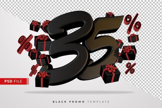 Черный номер 35 черная пятница баннер 3d с темными подарочными коробками