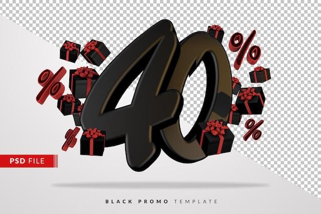 Черный номер 40 черная пятница баннер 3d с темными подарочными коробками