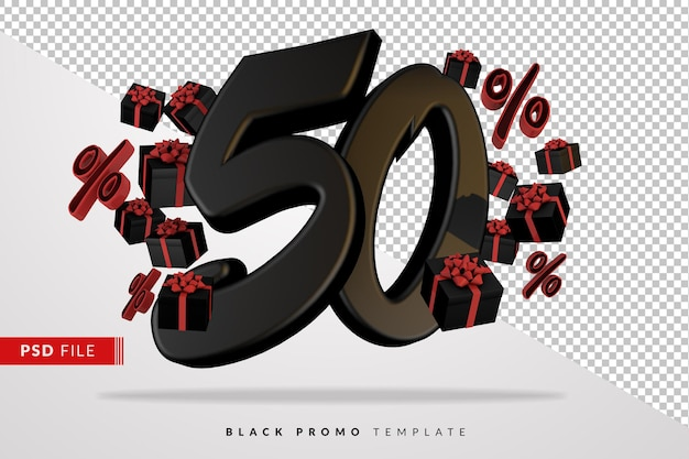 Черный номер 50 черная пятница баннер 3d с темными подарочными коробками