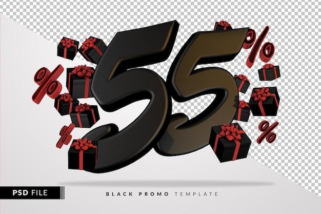 Черный номер 55 черная пятница баннер 3d с темными подарочными коробками