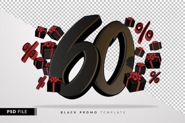 Черный номер 60 черная пятница баннер 3d с темными подарочными коробками