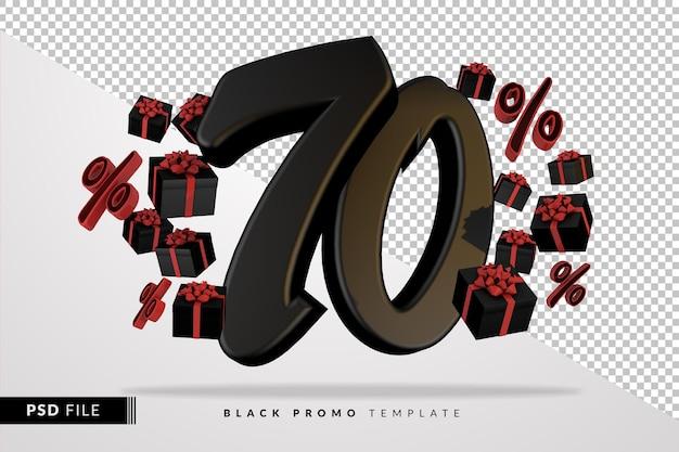 Черный номер 70 черная пятница баннер 3d с темными подарочными коробками