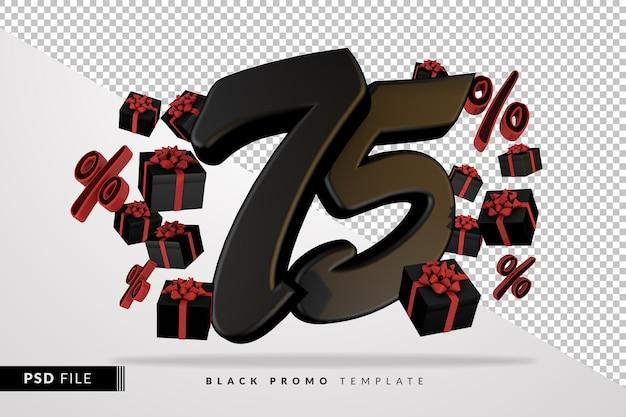 Черный номер 75 черная пятница баннер 3d с темными подарочными коробками