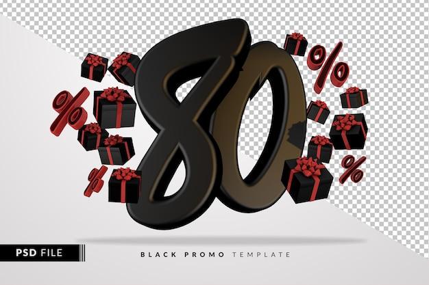 Черный номер 80 черная пятница баннер 3d с темными подарочными коробками