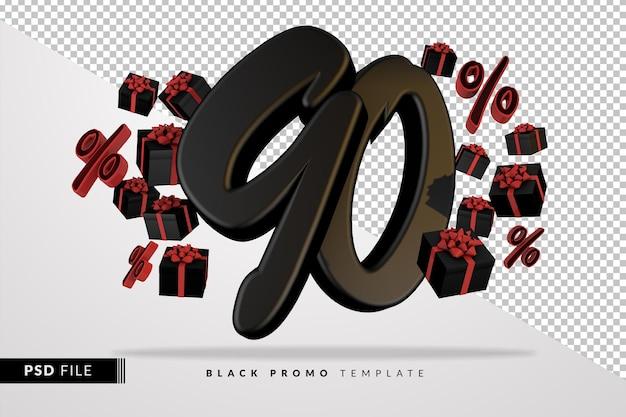 Черный номер 90 черная пятница баннер 3d с темными подарочными коробками