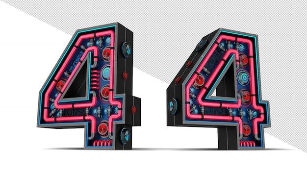 빨간색과 파란색 네온 빛 3d 렌더링 일러스트와 함께 검은 수.