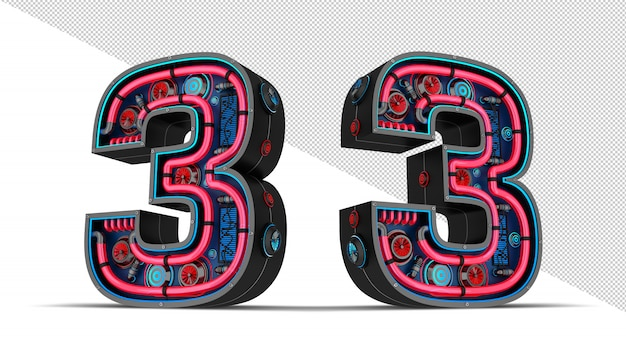 Black number with red and blue neon light 3d rendering illustration.