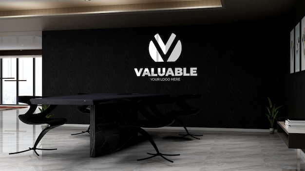 Black office meeting space for company branding wall logo mockup