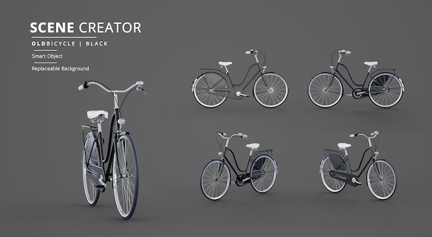 Создатель сцены с моделью черного старого велосипеда Premium Psd