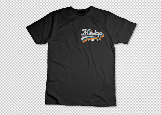 투명한 표면 모형 위에 검은색 열린 티셔츠