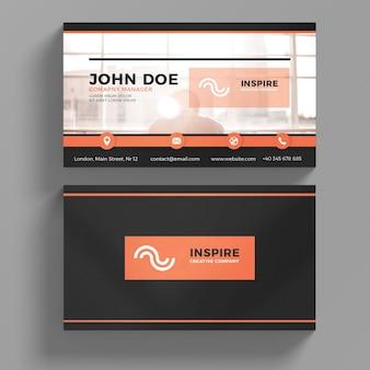 Black and orange business card mockup Premium Psd