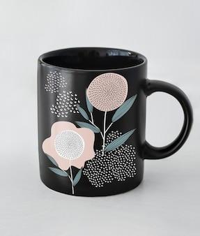 Черный макет кофейной чашки