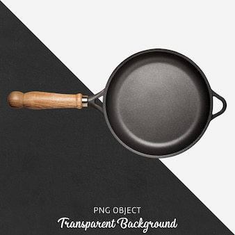 Black pan with wooden handle on transparent background