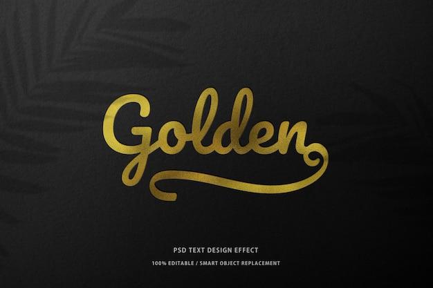 Black paper mockup prototype with golden foil logo stamping