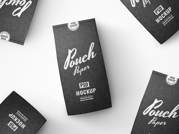 Black paper pouch advertising mockup