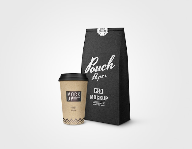 Black paper pouch and coffee cup mockup