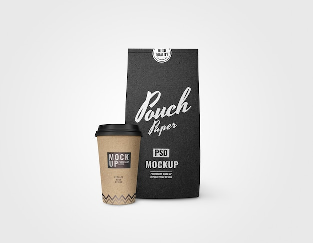 Black paper pouch and paper cup mockup