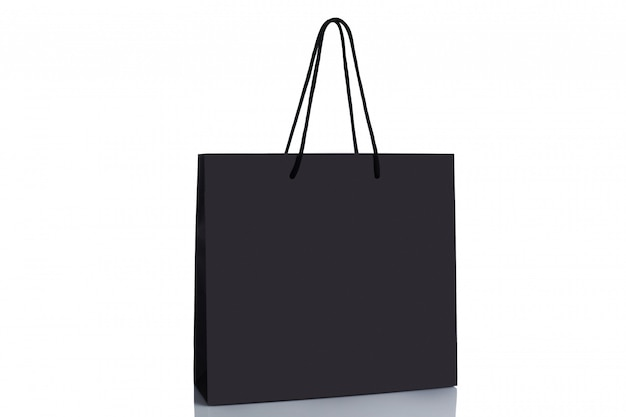 Black paper shopping bag isolated.