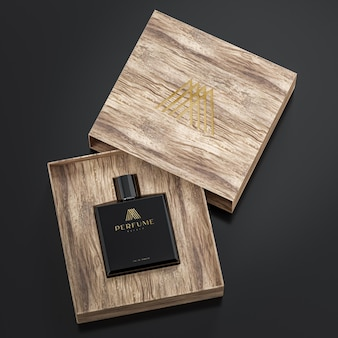 Черный флакон духов и макет логотипа в деревянной коробке на черном фоне для брендинга 3d рендеринга