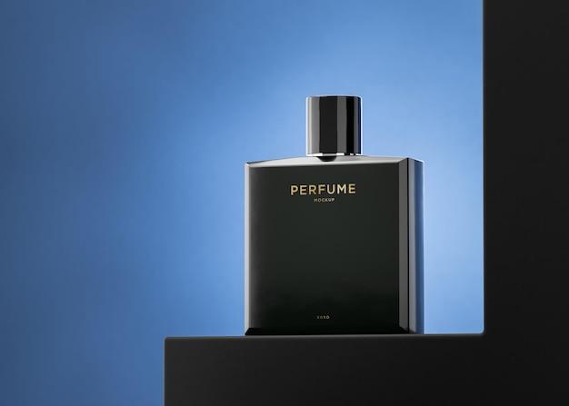 Black perfume bottle logo mockup for brand identity 3d render