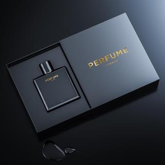 Макет логотипа черного флакона для брендинга 3d рендеринга
