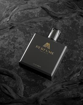Макет логотипа черный флакон духов на черном фоне ветки дерева 3d визуализации