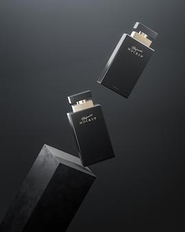 Черная бутылка духов роскошный макет логотипа для презентации бренда на черном фоне 3d визуализации