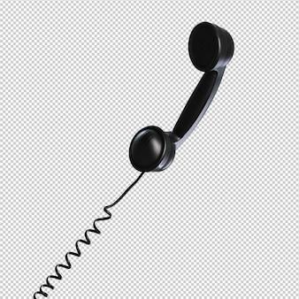Черный телефон на белом фоне