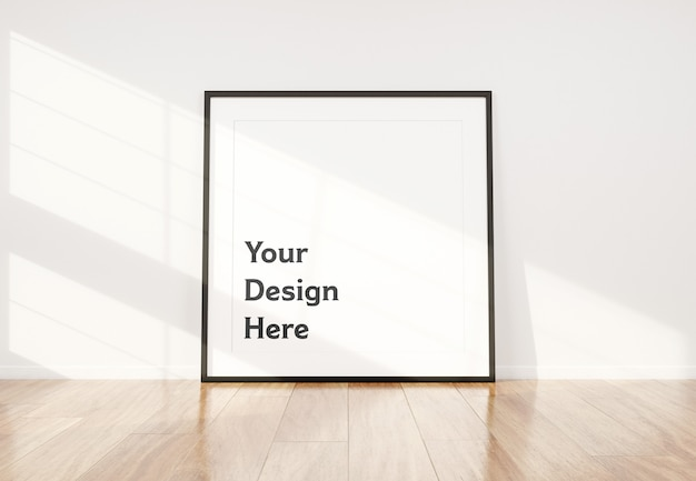 Black photo frame leaning in interior mockup