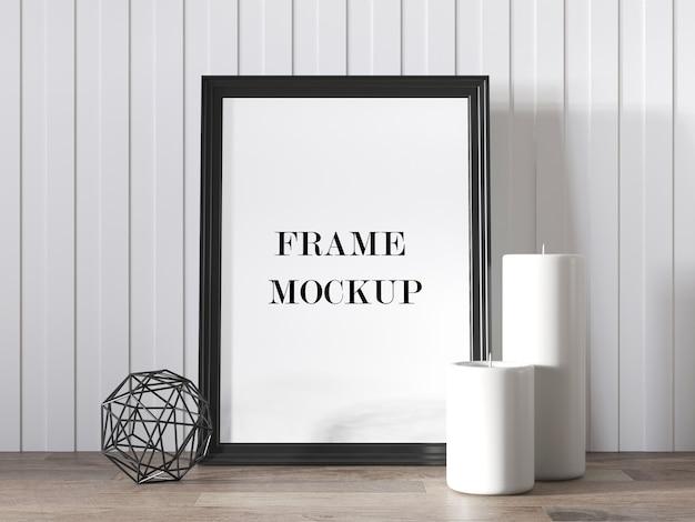 Black photo frame mockup beside candles 3d render
