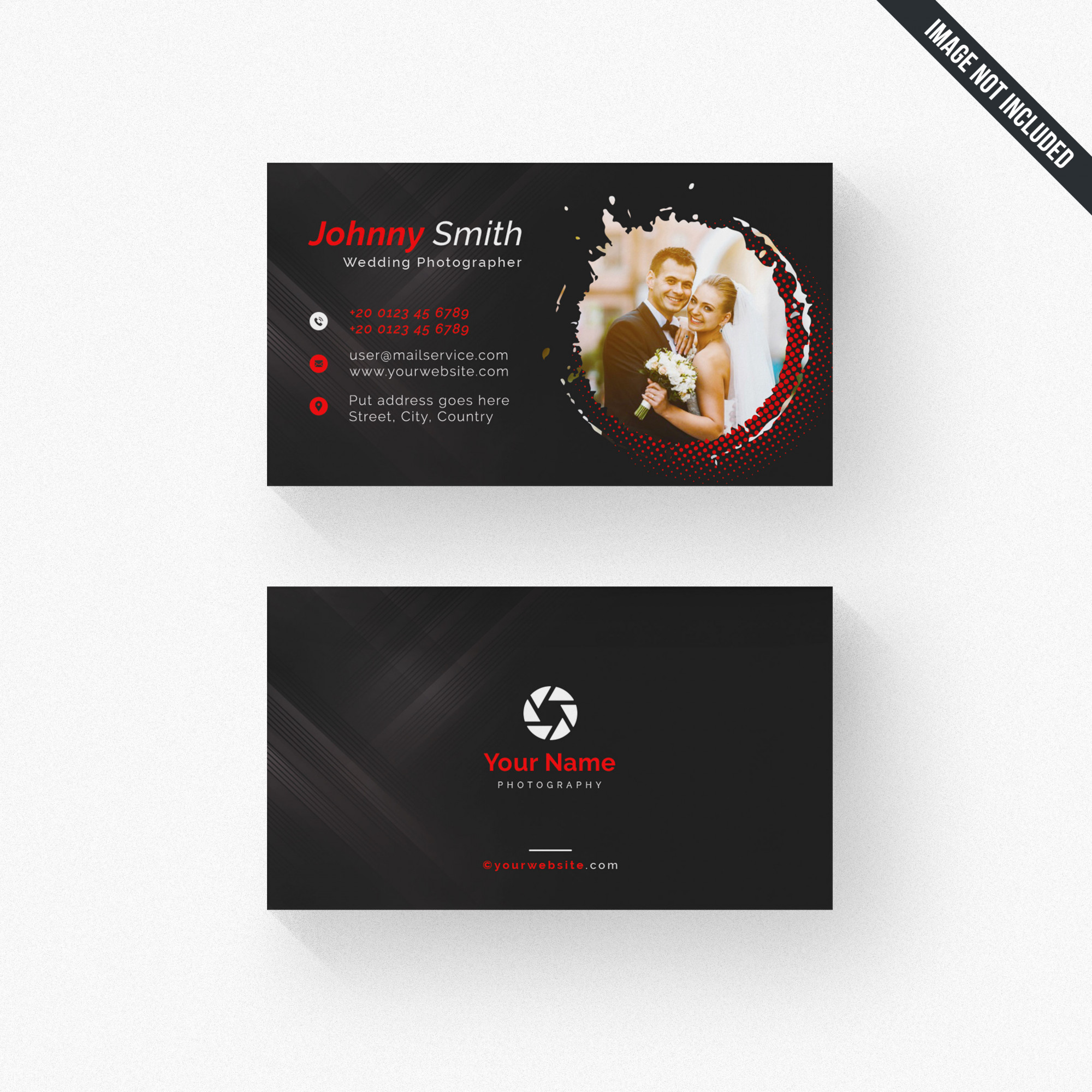 Black photographer business card with red details